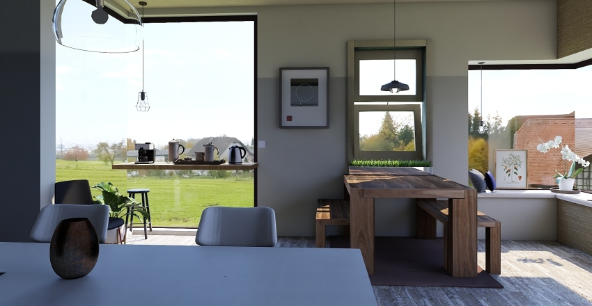Converted Farm House Interior Design Render