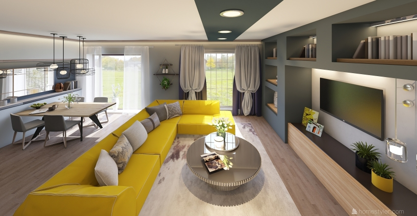 Yellow mood Interior Design Render