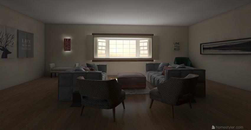 Country Side Living Room Interior Design Render
