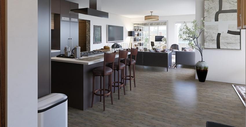 2br uptown + den Interior Design Render