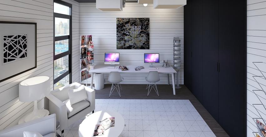 Black and Red Interior Design Render