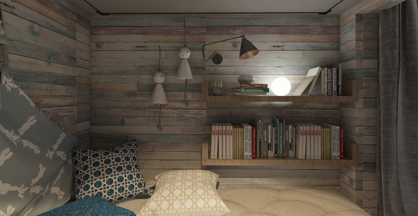 Two Floor Kid Bedroom with reading area. Interior Design Render