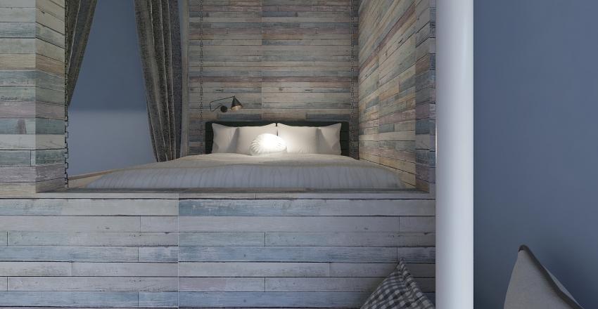 Two Floor Kid Bedroom with reading area. Interior Design Render