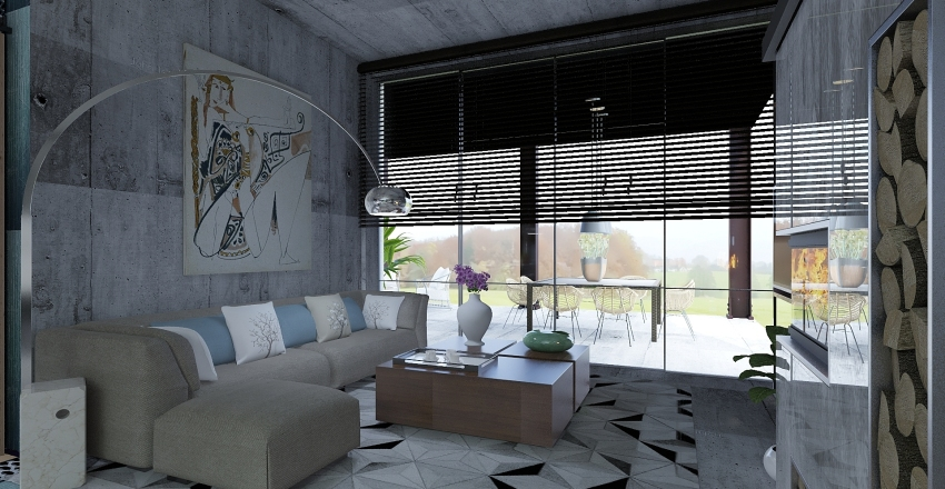 Casa con  patio  Interior Design Render