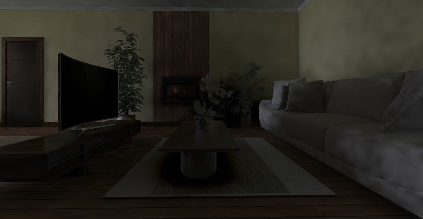 Wooden Home Interior Design Render