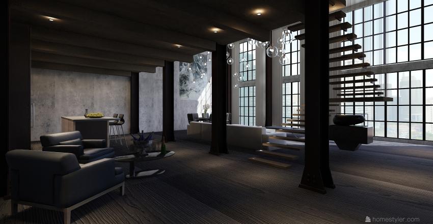 The Manhattan Industrial Apartment  Interior Design Render