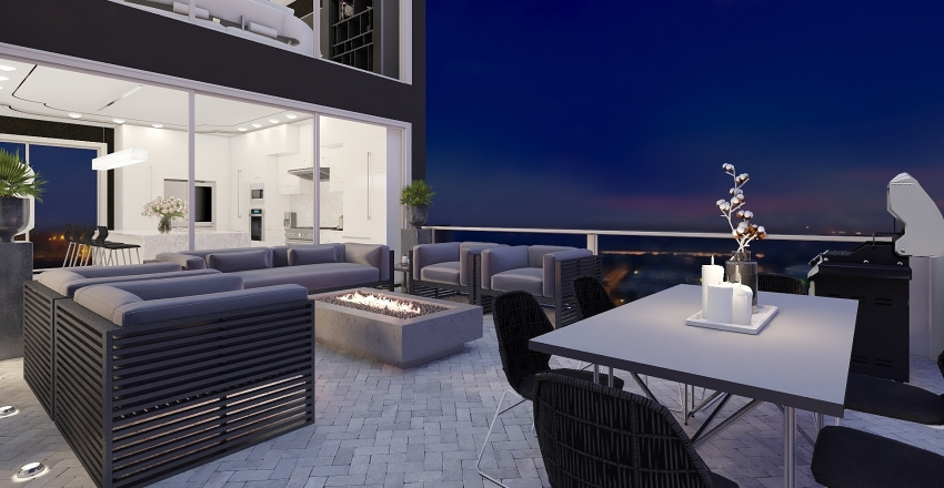 Black and White Luxurious Penthouse Interior Design Render