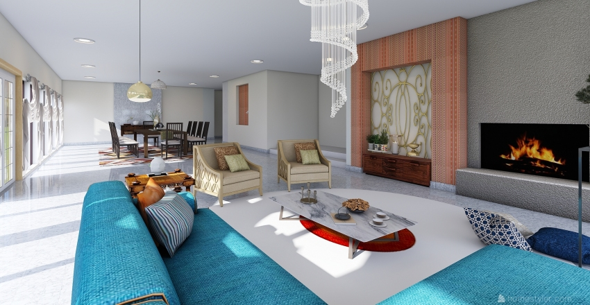Remodelacion de Casa Lucioni para Priyanka Chopra  Interior Design Render