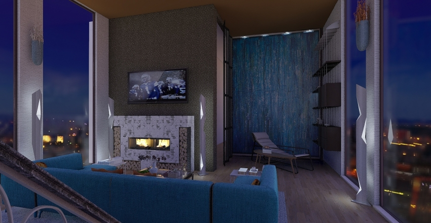 appartamento con soppalco. Interior Design Render