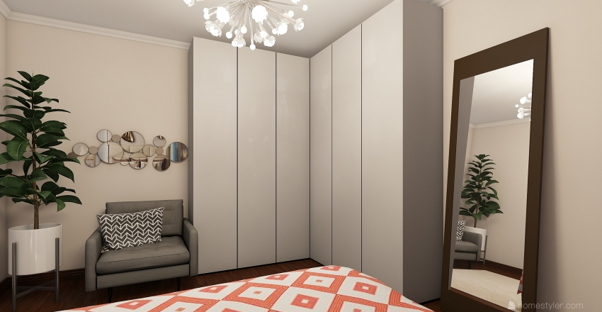 Quarto rosa Interior Design Render