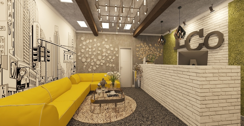 Modern and Playful Office Design Interior Design Render