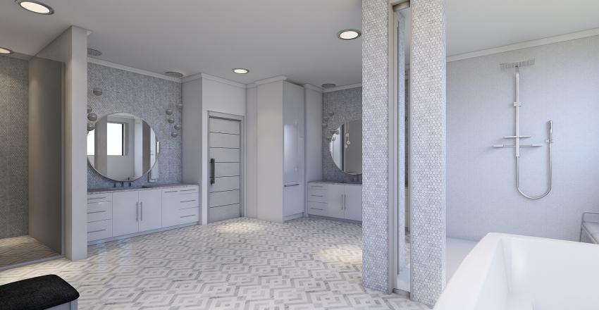 All-White Luxury Bathroom  Interior Design Render