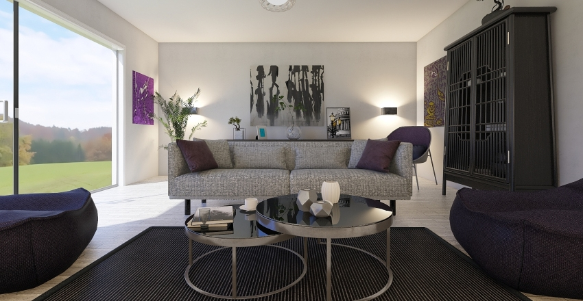 purple living room Interior Design Render