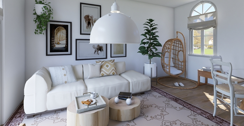 Boheme Room White Interior Design Render