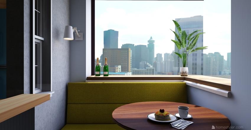 Blue Kitchen Interior Design Render