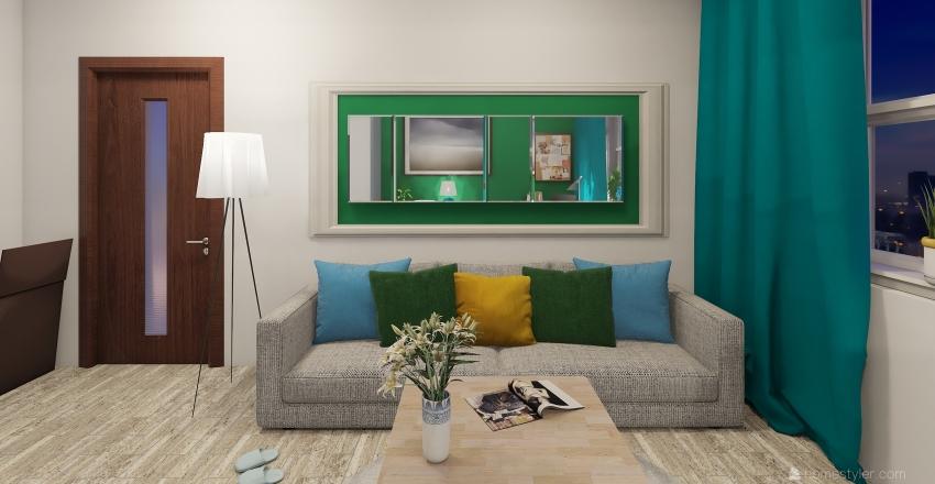 Green&blue room Interior Design Render