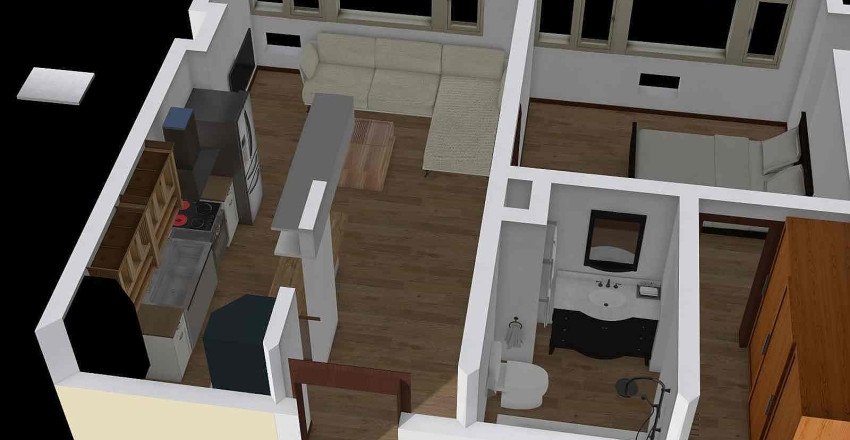 56 sqm 1714 condo layout Interior Design Render