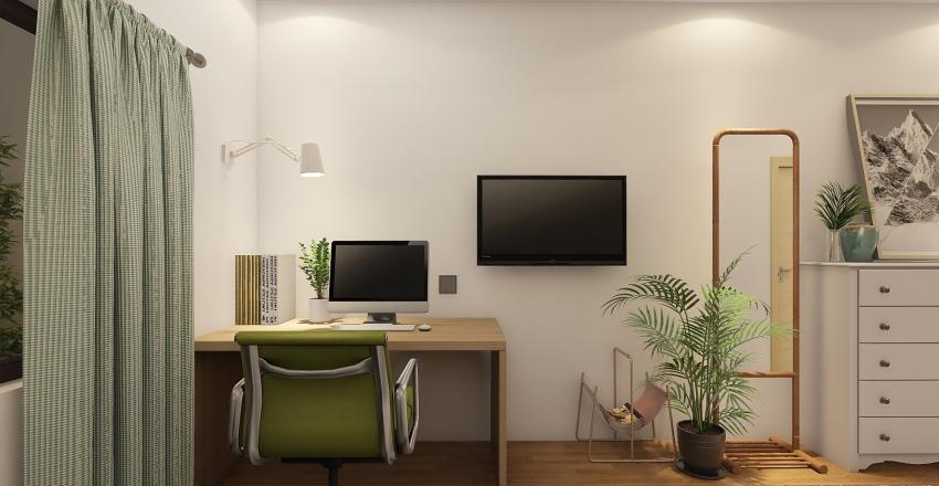 small bedroom with bathroom and garden view Interior Design Render