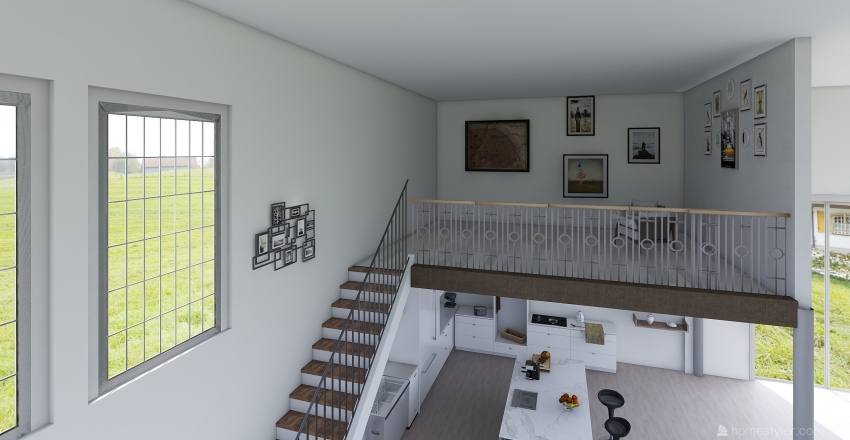 Modern house in the countryside (maison moderne à la campagne). Interior Design Render