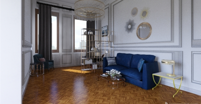 Living room in St Petersburg project Interior Design Render