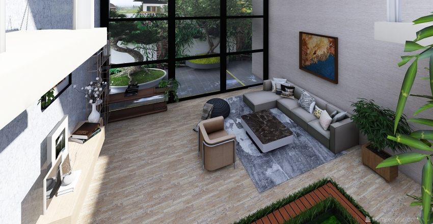 Indoor Courtyard House Interior Design Render