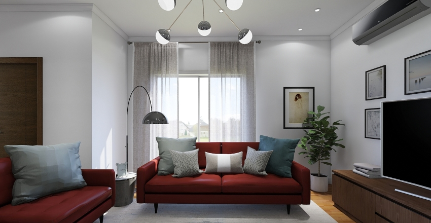 The Red sofa project by The Style Brush Interior Design Render