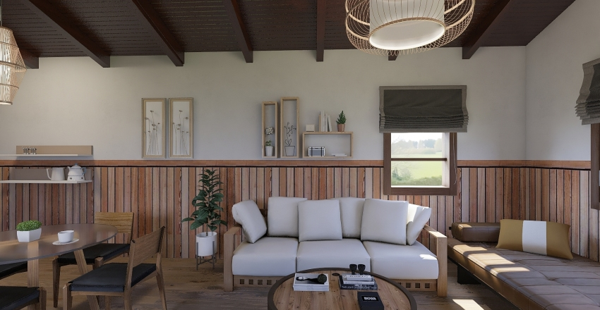 WOODEN INTERIOR HOME Interior Design Render