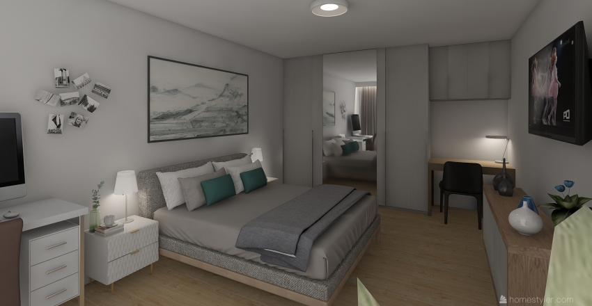 Smal house 48m2 Interior Design Render