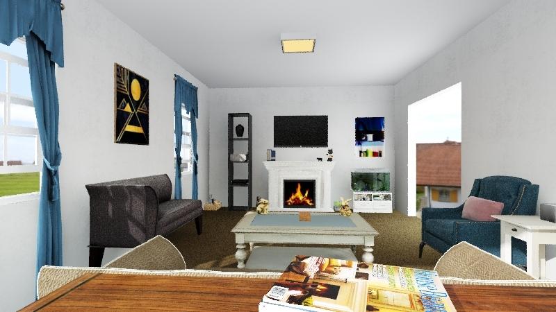 Old Living Room Interior Design Render