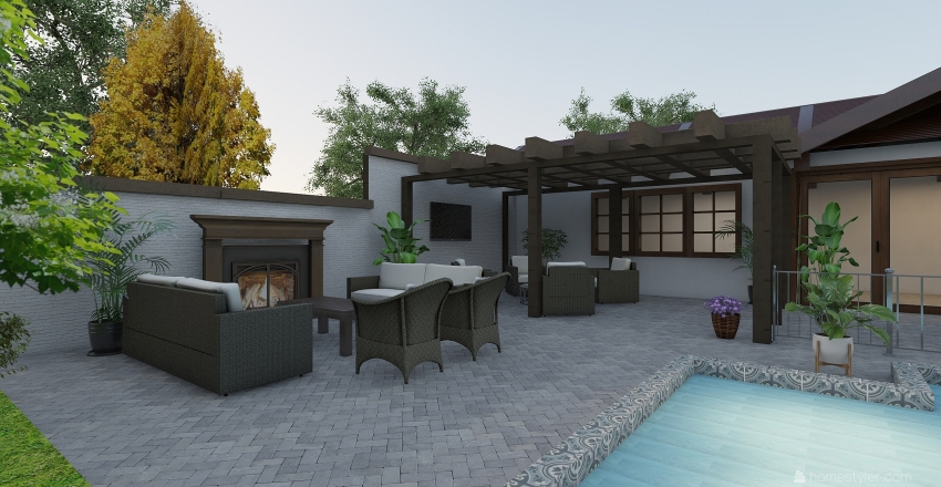 outside pool Interior Design Render