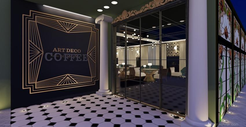 Café Art Decó  Interior Design Render
