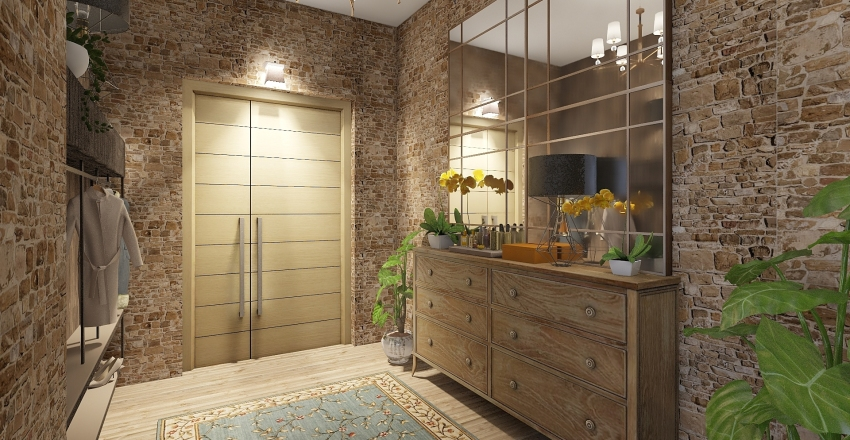 Industrial meets old Interior Design Render