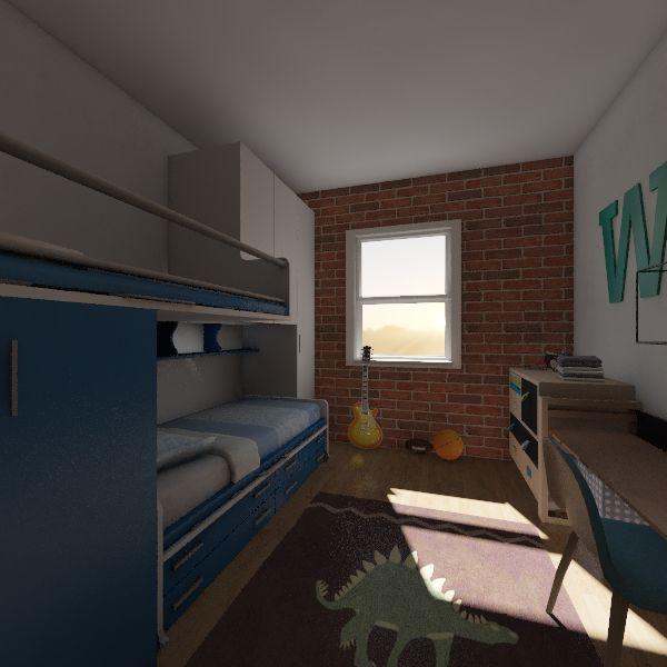Boys Bedroom Interior Design Render