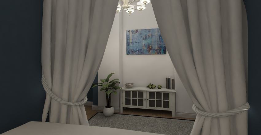 blu bedroom Interior Design Render