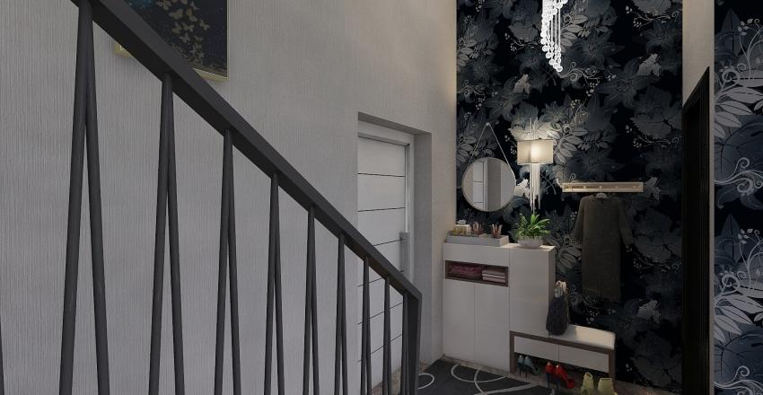 One room with loft Interior Design Render