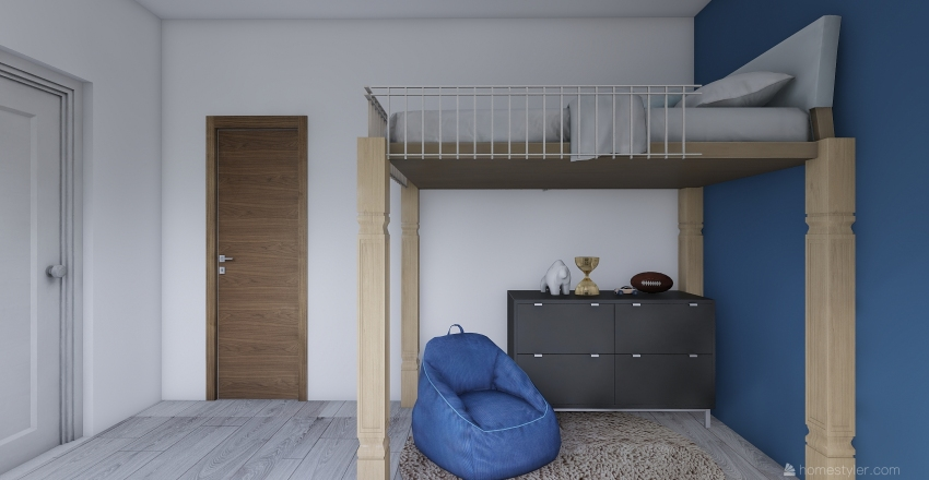 A Practical Bedroom for your Little Boy Interior Design Render