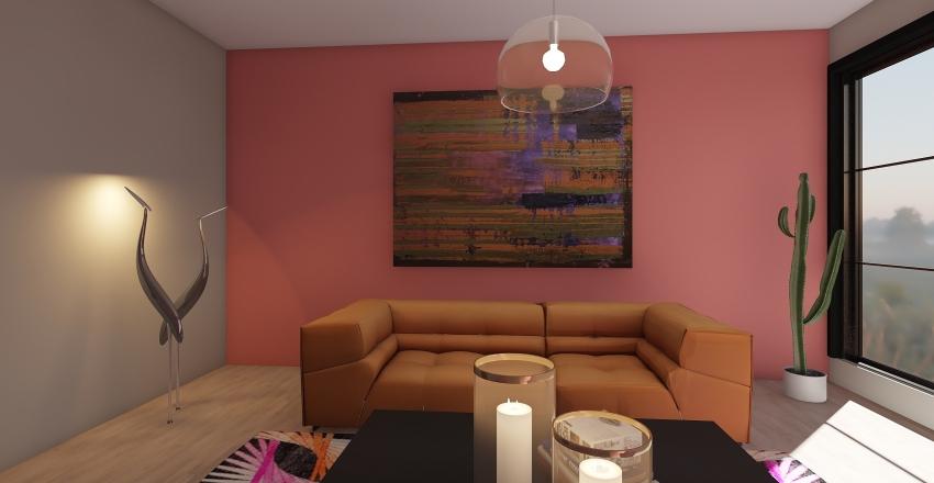 Fucsia living room Interior Design Render