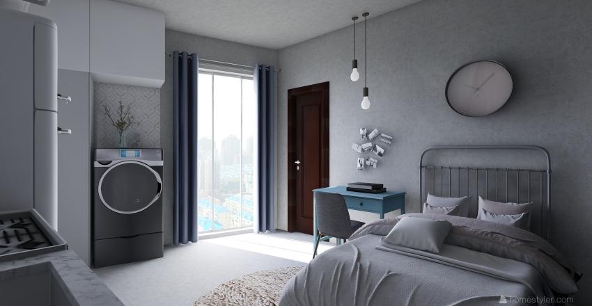 Tiny Studio Apartment Interior Design Render
