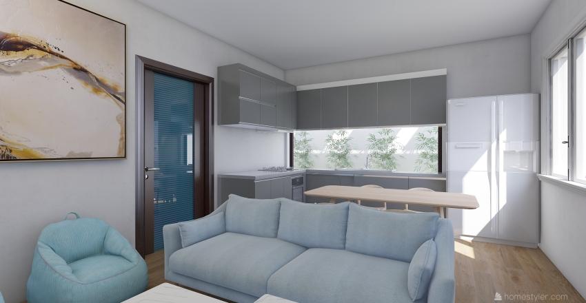 Vietnamse Urban House - 7x13m Floor 1 Interior Design Render