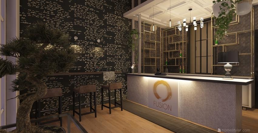 fusion sushi e drink Interior Design Render
