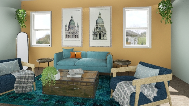 boho living Interior Design Render