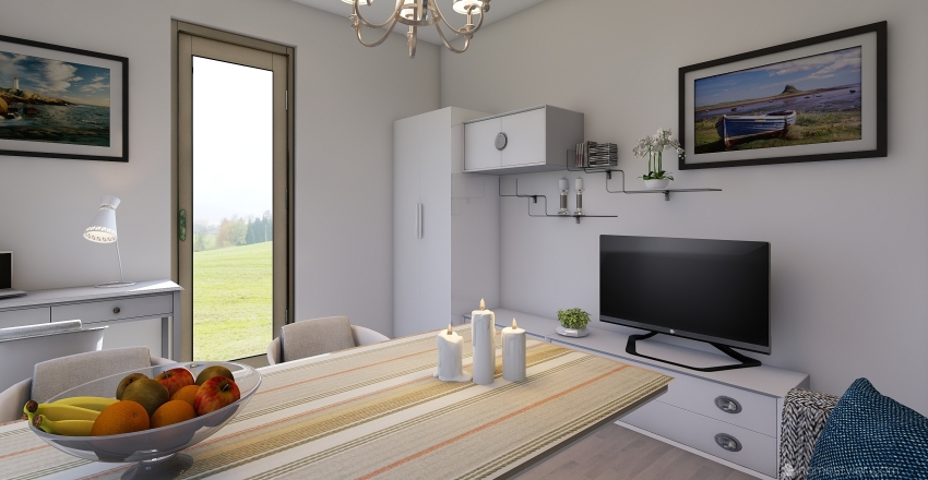 большая комната дача Interior Design Render