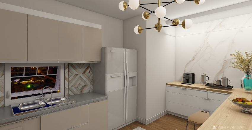 beige kitchen Interior Design Render