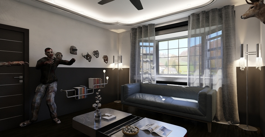Halloween Living Room Interior Design Render