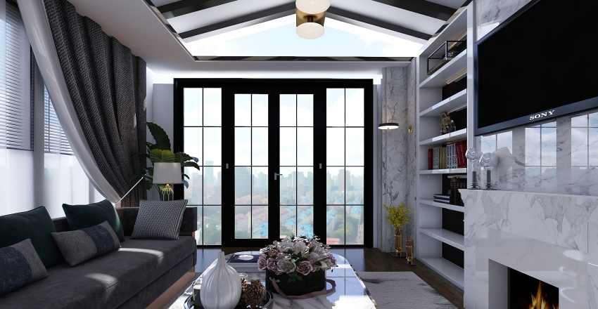 Modern Living Room Interior Design Render