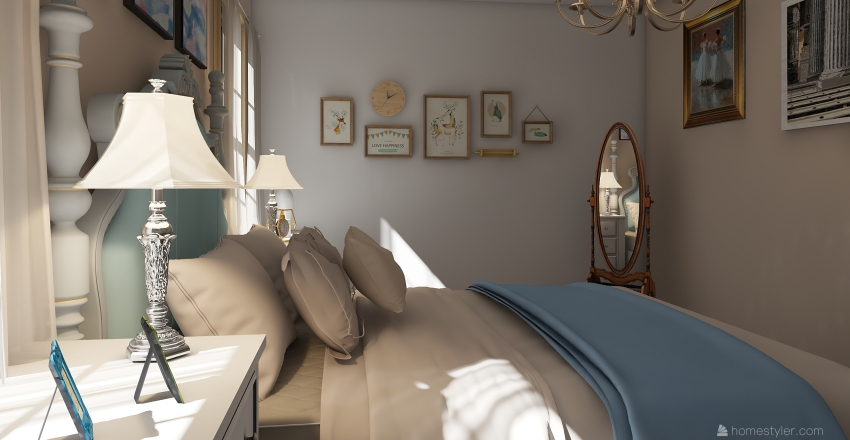 French country guest bedroom Interior Design Render