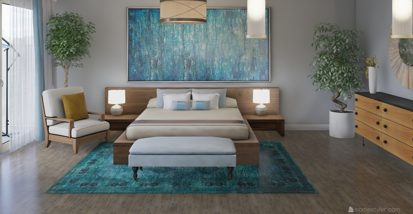 Hotel Bedroom Interior Design Render
