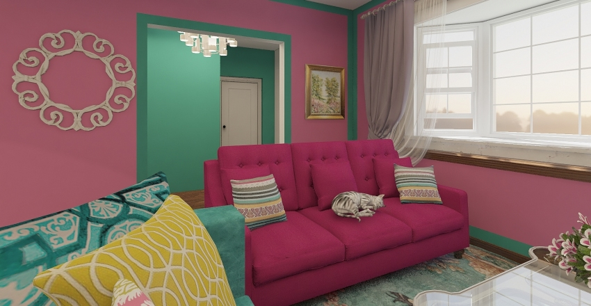 Colourful Bungalow Interior Design Render