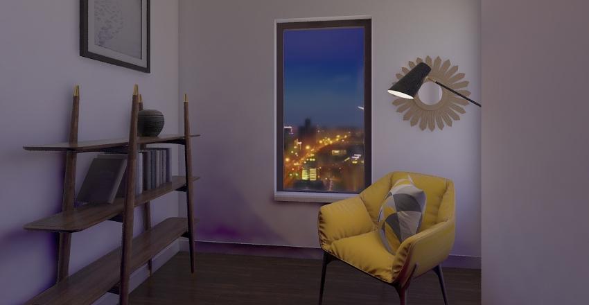 Townhouse Living & Dining Room Interior Design Render