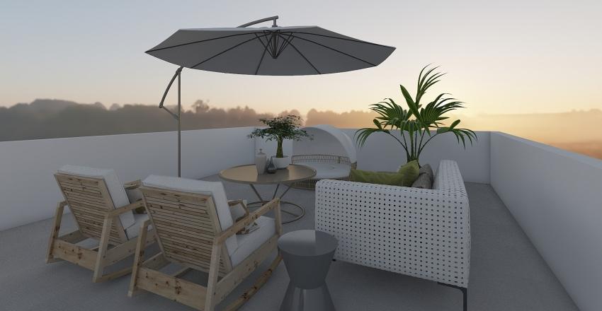 Townhouse Rooftop Deck Interior Design Render